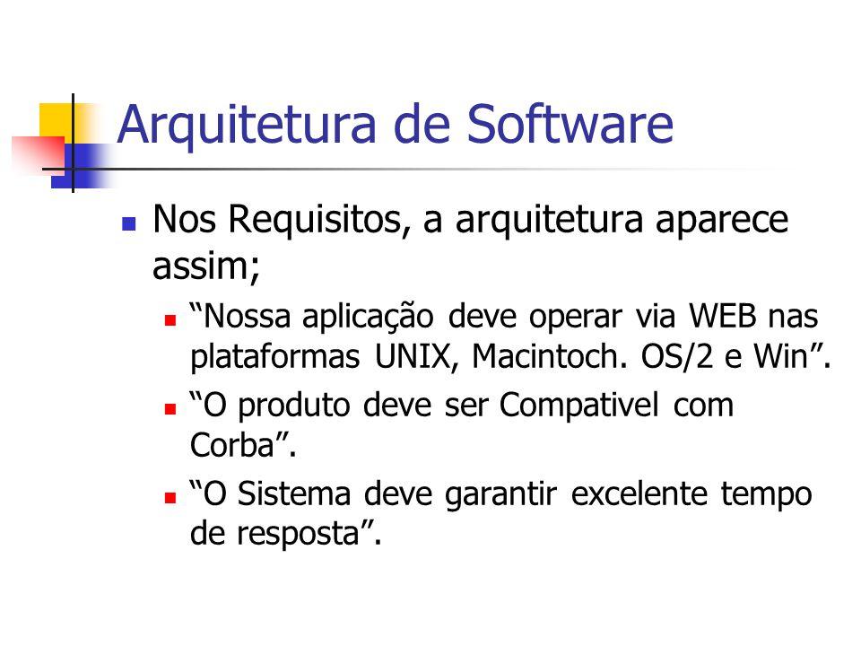 Arquitetura de Software Nos Requisitos, a arquitetura aparece assim; Nossa aplicação deve operar via WEB nas plataformas UNIX, Macintoch.