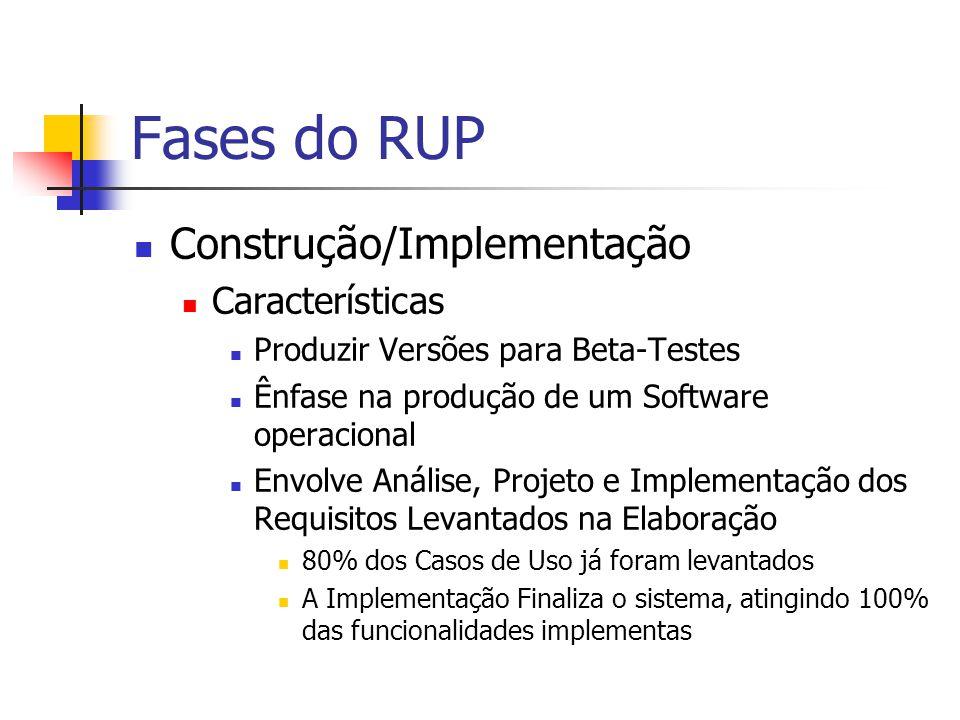 Fases do RUP Construção/Implementação Características Produzir Versões para Beta-Testes Ênfase na produção de um Software operacional Envolve Análise, Projeto e Implementação dos Requisitos Levantados na Elaboração 80% dos Casos de Uso já foram levantados A Implementação Finaliza o sistema, atingindo 100% das funcionalidades implementas