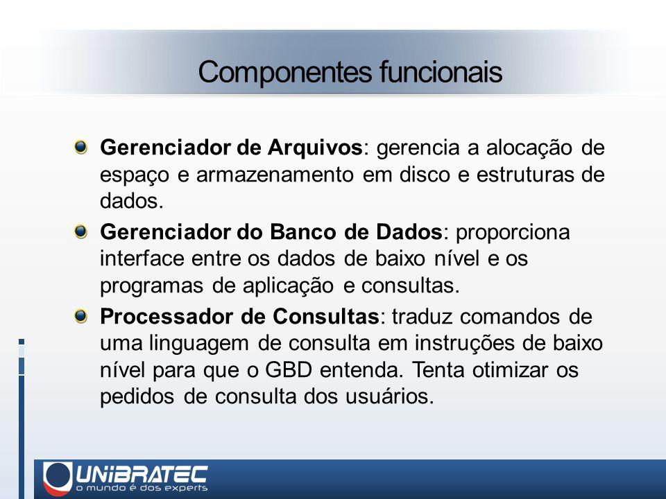 Componentes funcionais Gerenciador de Arquivos: gerencia a alocação de espaço e armazenamento em disco e estruturas de dados.
