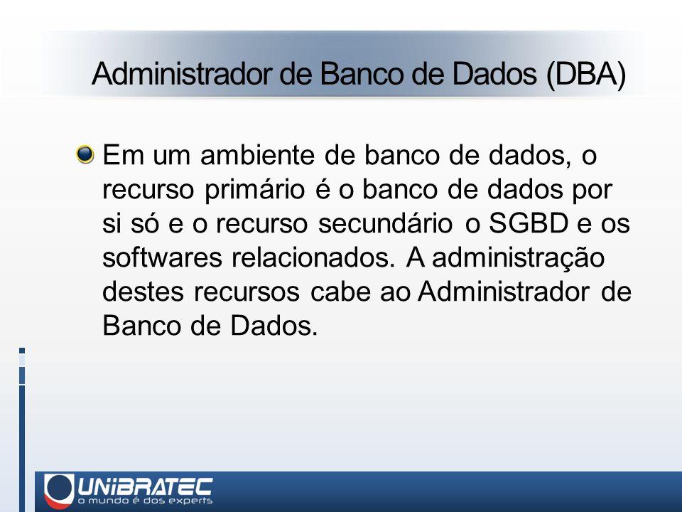 Administrador de Banco de Dados (DBA) Em um ambiente de banco de dados, o recurso primário é o banco de dados por si só e o recurso secundário o SGBD e os softwares relacionados.