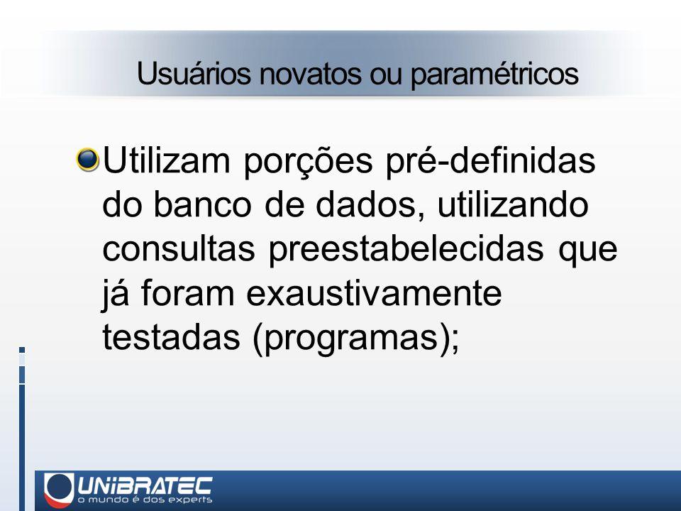 Usuários novatos ou paramétricos Utilizam porções pré-definidas do banco de dados, utilizando consultas preestabelecidas que já foram exaustivamente testadas (programas);