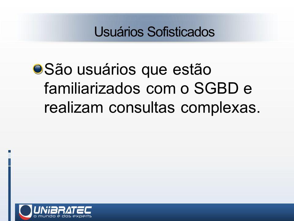 Usuários Sofisticados São usuários que estão familiarizados com o SGBD e realizam consultas complexas.