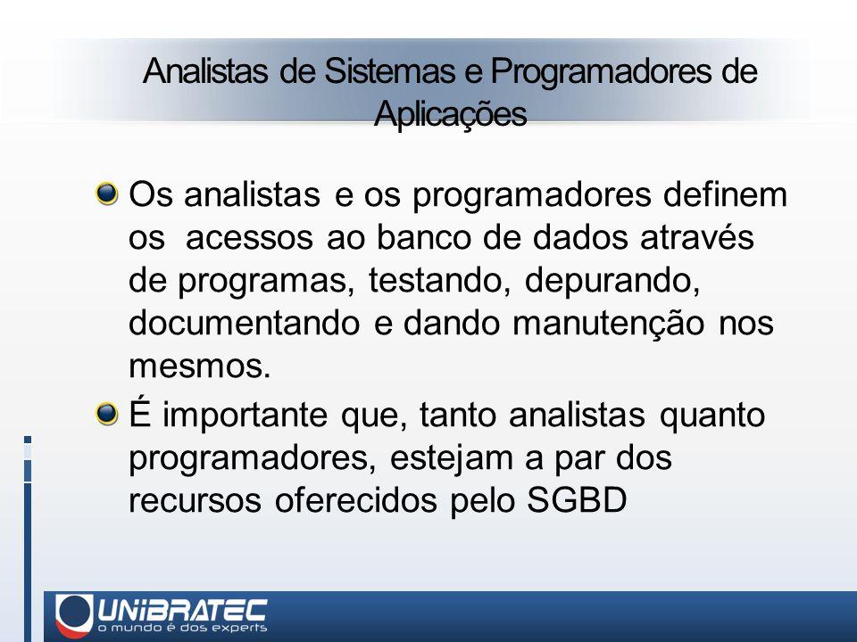 Analistas de Sistemas e Programadores de Aplicações Os analistas e os programadores definem os acessos ao banco de dados através de programas, testando, depurando, documentando e dando manutenção nos mesmos.