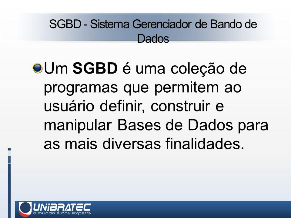SGBD - Sistema Gerenciador de Bando de Dados Um SGBD é uma coleção de programas que permitem ao usuário definir, construir e manipular Bases de Dados para as mais diversas finalidades.