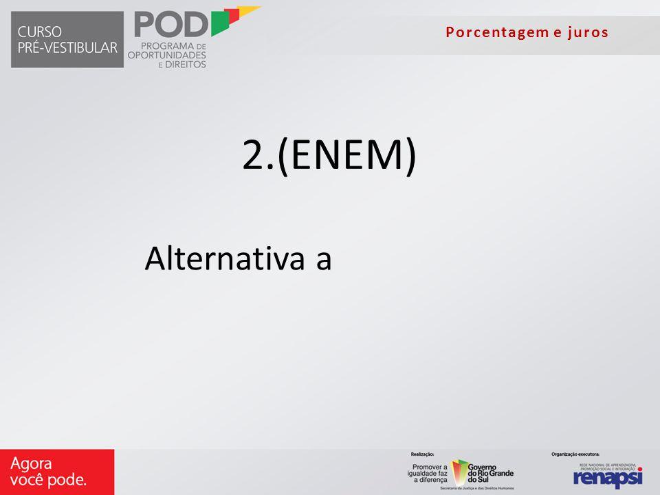 Porcentagem e juros 2.(ENEM) Alternativa a