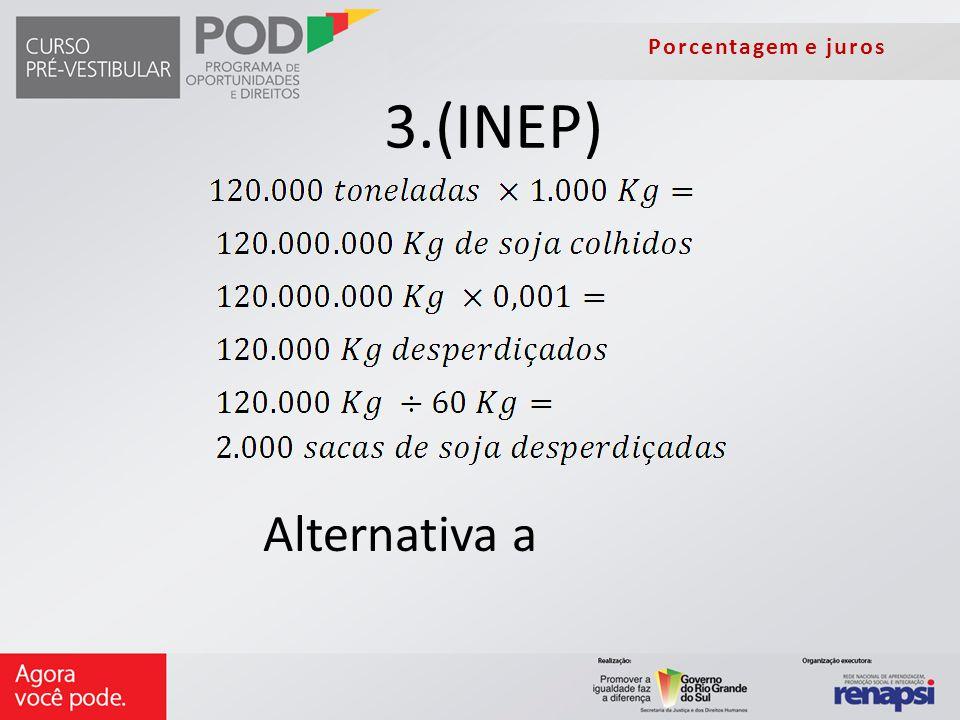 Porcentagem e juros 3.(INEP) Alternativa a
