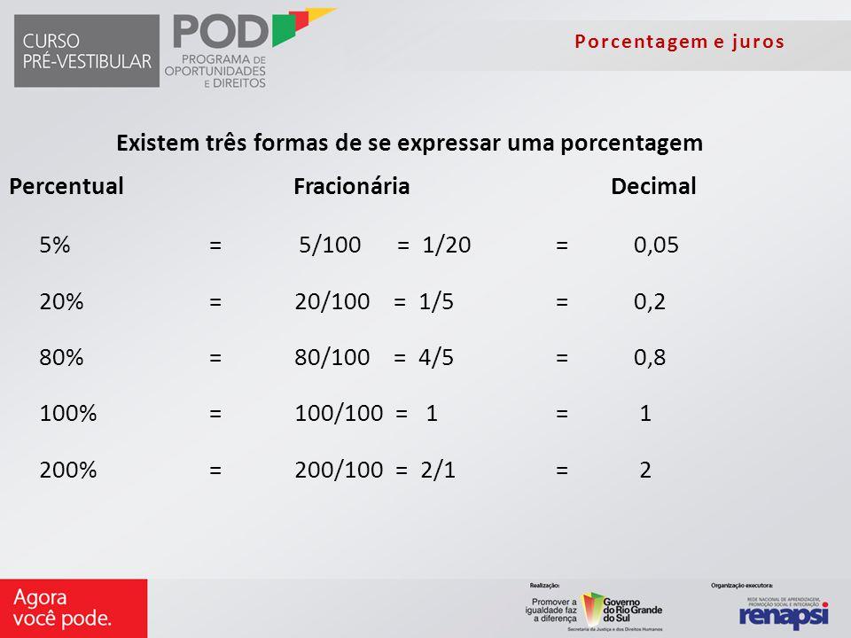 5% = 5/100 = 1/20 = 0,05 20% = 20/100 = 1/5 = 0,2 80% =80/100 = 4/5 = 0,8 100% =100/100 = 1 = 1 200% =200/100 = 2/1 = 2 Existem três formas de se expr