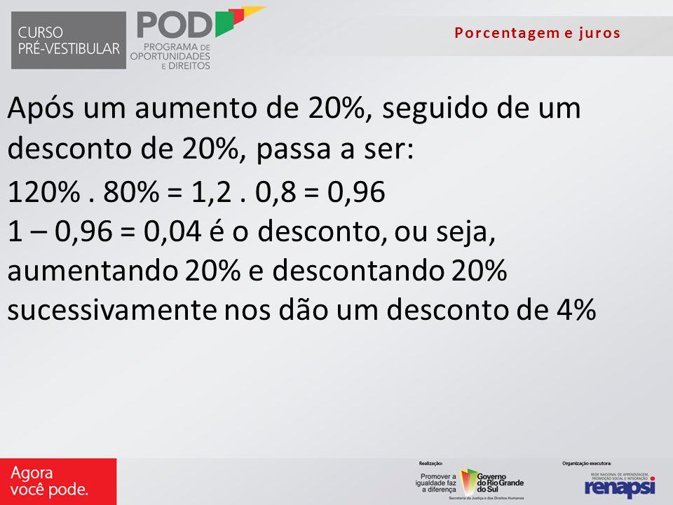 Porcentagem e juros Após um aumento de 20%, seguido de um desconto de 20%, passa a ser: 120%. 80% = 1,2. 0,8 = 0,96 1 – 0,96 = 0,04 é o desconto, ou s