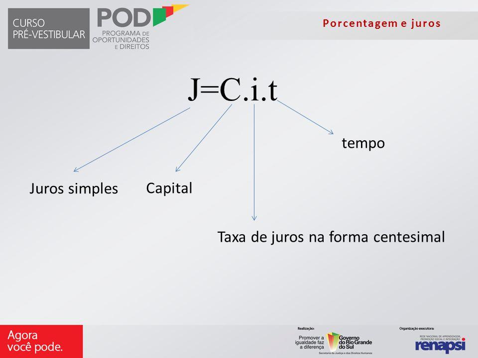 Porcentagem e juros J=C.i.t Taxa de juros na forma centesimal Capital Juros simples tempo