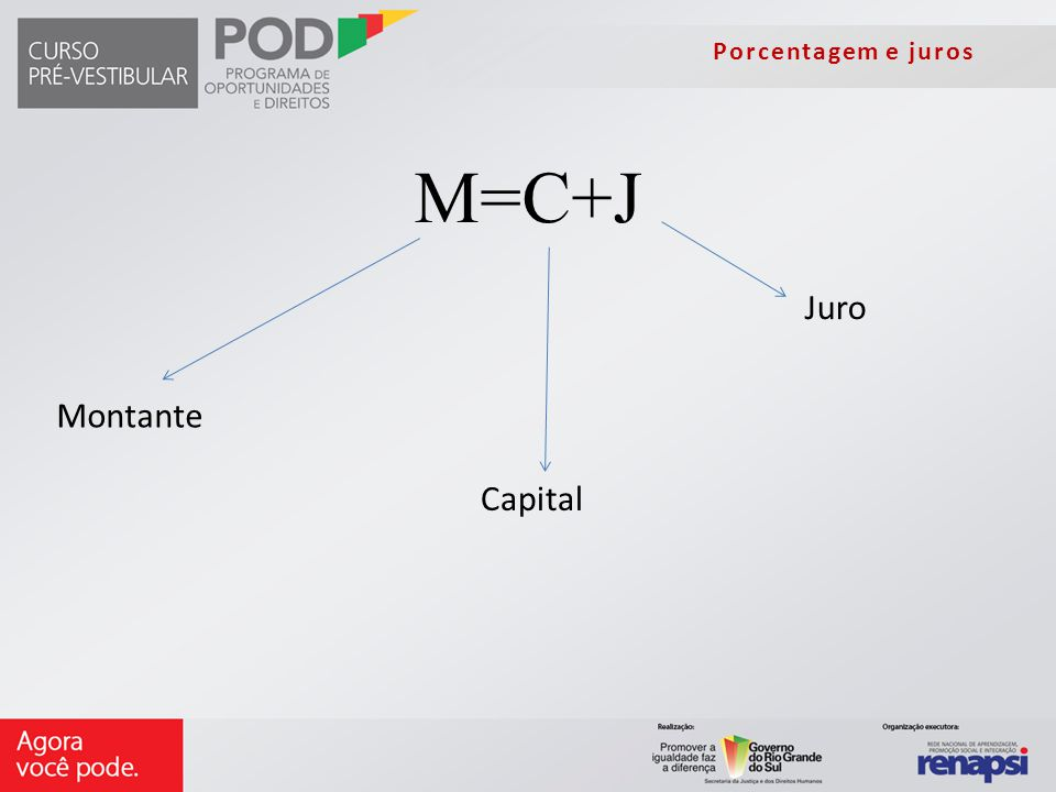 Porcentagem e juros M=C+J Capital Juro Montante