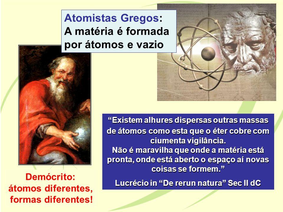 Atomistas Gregos: A matéria é formada por átomos e vazio Demócrito: átomos diferentes, formas diferentes! Existem alhures dispersas outras massas de á