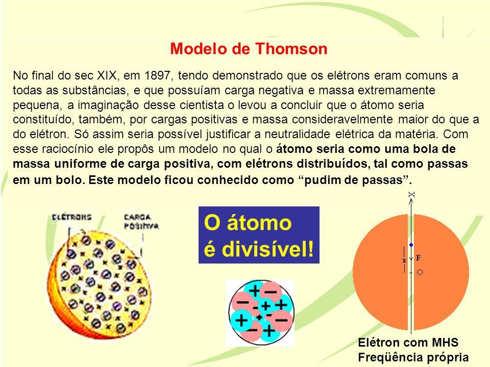 Modelo de Thomson No final do sec XIX, em 1897, tendo demonstrado que os elétrons eram comuns a todas as substâncias, e que possuíam carga negativa e