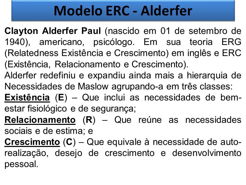 Modelo ERC - Alderfer Clayton Alderfer Paul (nascido em 01 de setembro de 1940), americano, psicólogo. Em sua teoria ERG (Relatedness Existência e Cre