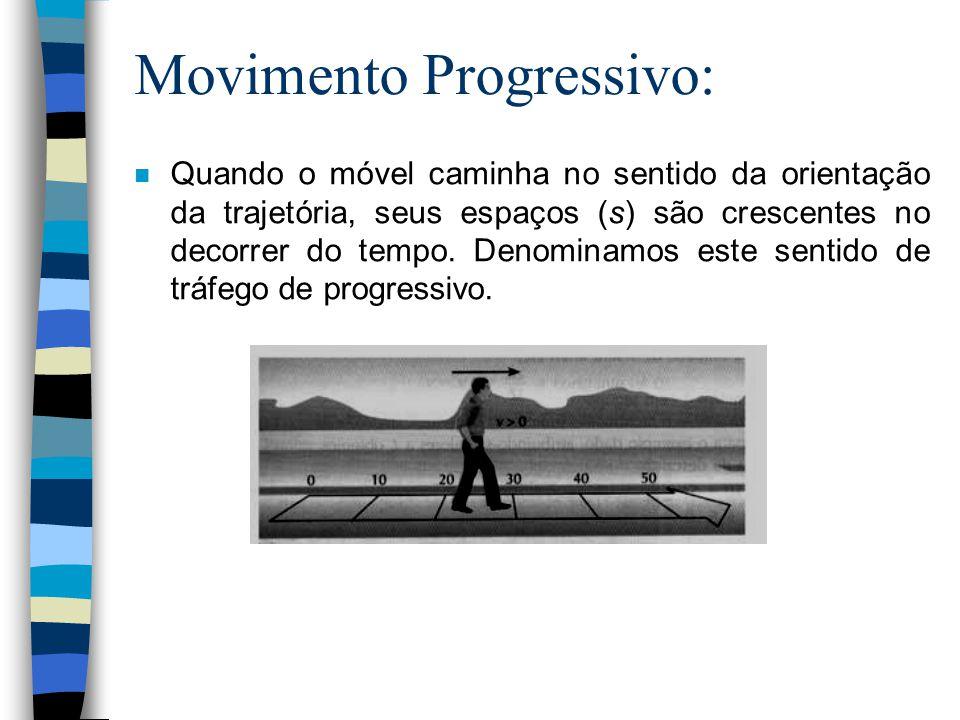 Movimento Progressivo: n Quando o móvel caminha no sentido da orientação da trajetória, seus espaços (s) são crescentes no decorrer do tempo. Denomina