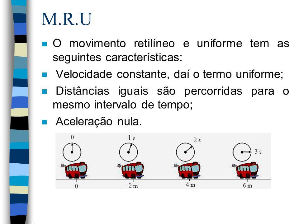 M.R.U n O movimento retilíneo e uniforme tem as seguintes características: n Velocidade constante, daí o termo uniforme; n Distâncias iguais são perco