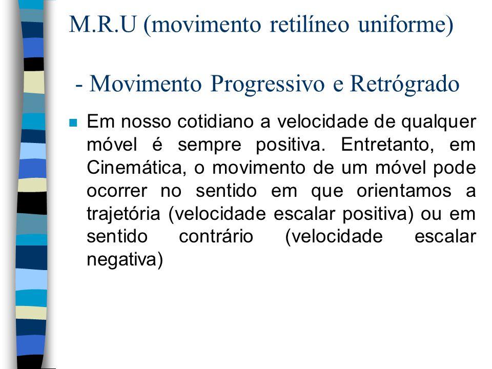M.R.U (movimento retilíneo uniforme) - Movimento Progressivo e Retrógrado n Em nosso cotidiano a velocidade de qualquer móvel é sempre positiva. Entre