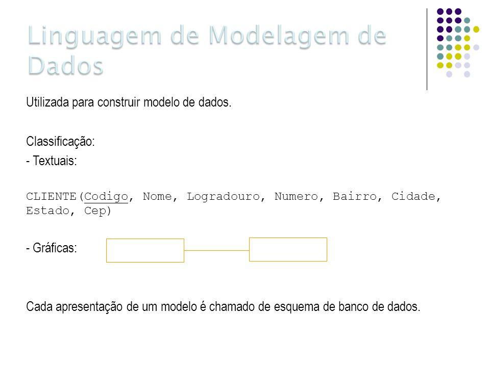 Utilizada para construir modelo de dados. Classificação: - Textuais: CLIENTE(Codigo, Nome, Logradouro, Numero, Bairro, Cidade, Estado, Cep) - Gráficas