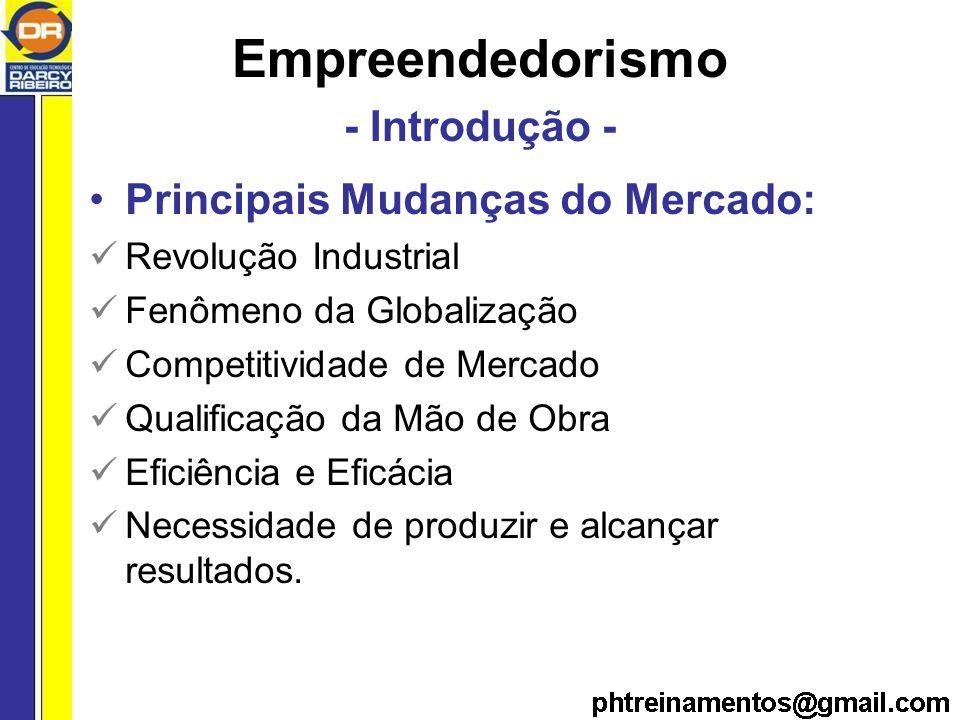 Empreendedorismo - Introdução - Principais Mudanças do Mercado: Revolução Industrial Fenômeno da Globalização Competitividade de Mercado Qualificação da Mão de Obra Eficiência e Eficácia Necessidade de produzir e alcançar resultados.