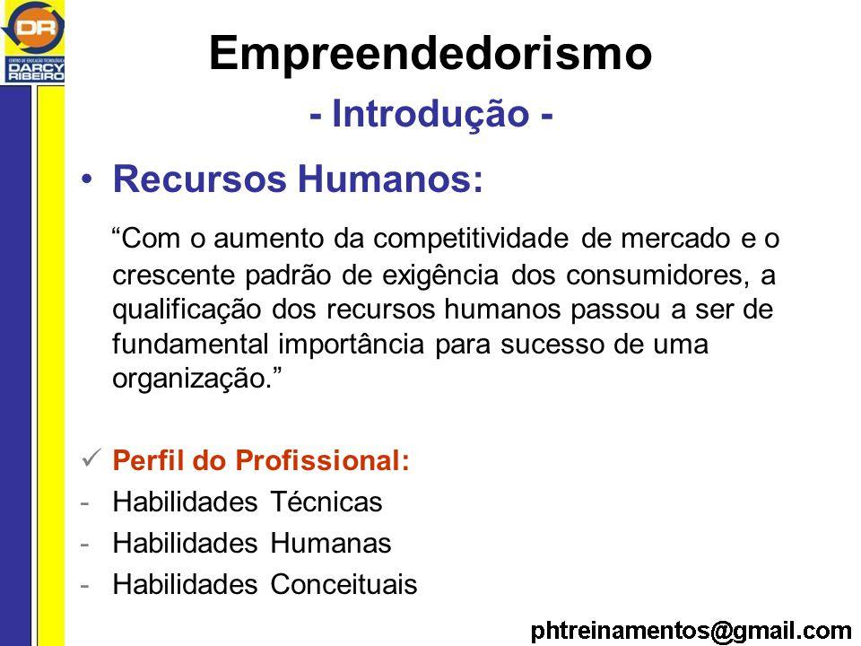 Empreendedorismo - Introdução - Recursos Humanos: Com o aumento da competitividade de mercado e o crescente padrão de exigência dos consumidores, a qualificação dos recursos humanos passou a ser de fundamental importância para sucesso de uma organização.