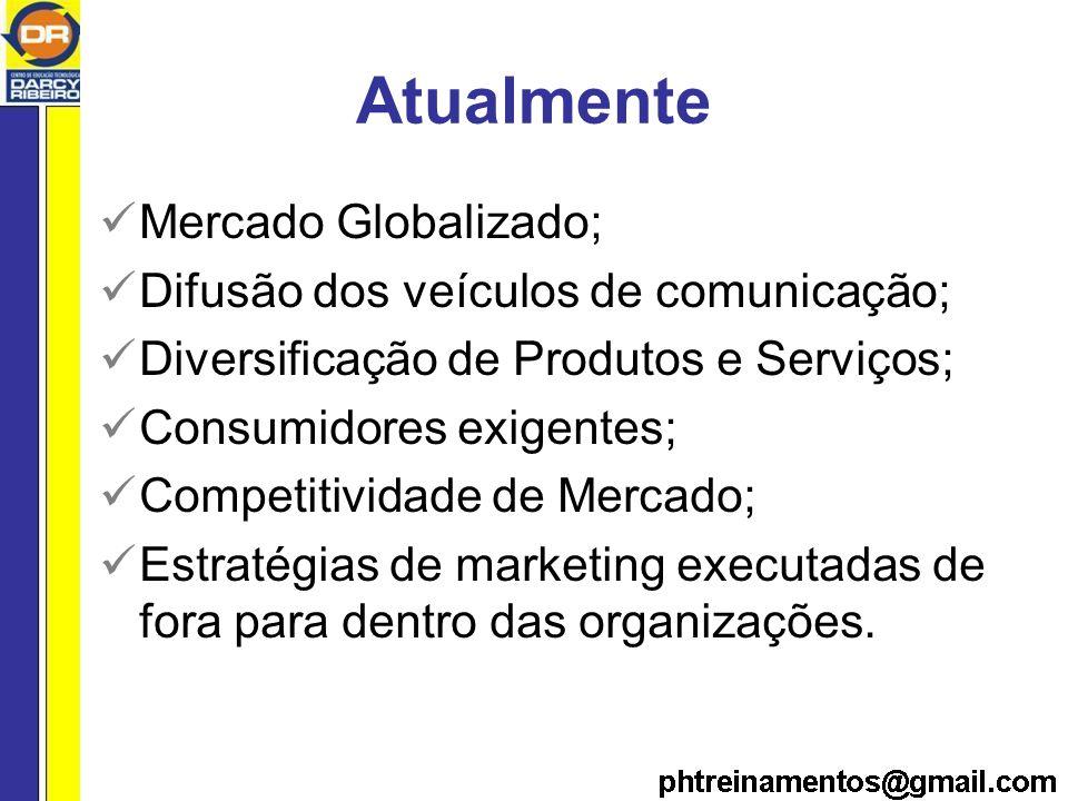Atualmente Mercado Globalizado; Difusão dos veículos de comunicação; Diversificação de Produtos e Serviços; Consumidores exigentes; Competitividade de Mercado; Estratégias de marketing executadas de fora para dentro das organizações.