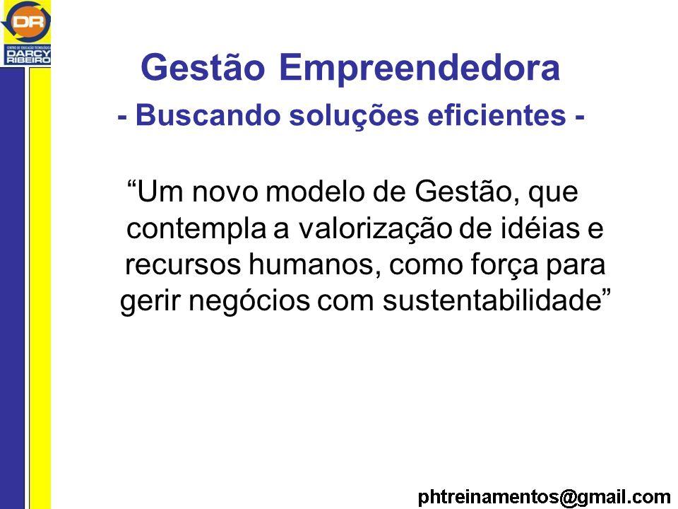 Gestão Empreendedora - Buscando soluções eficientes - Um novo modelo de Gestão, que contempla a valorização de idéias e recursos humanos, como força para gerir negócios com sustentabilidade