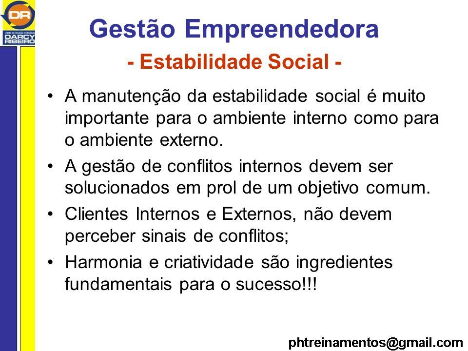 Gestão Empreendedora - Estabilidade Social - A manutenção da estabilidade social é muito importante para o ambiente interno como para o ambiente externo.