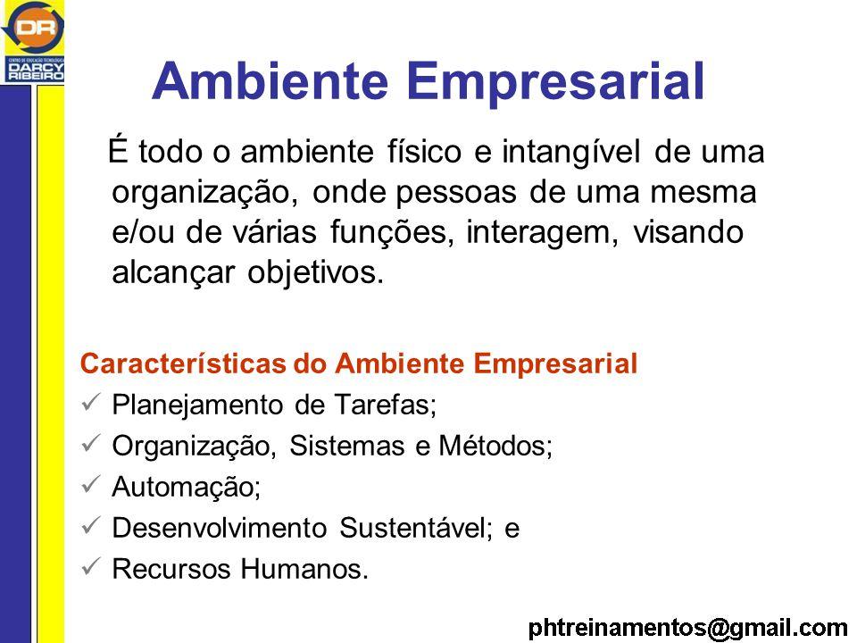 Ambiente Empresarial É todo o ambiente físico e intangível de uma organização, onde pessoas de uma mesma e/ou de várias funções, interagem, visando alcançar objetivos.