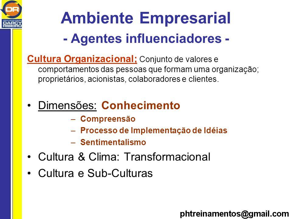 Ambiente Empresarial - Agentes influenciadores - Cultura Organizacional; Conjunto de valores e comportamentos das pessoas que formam uma organização; proprietários, acionistas, colaboradores e clientes.