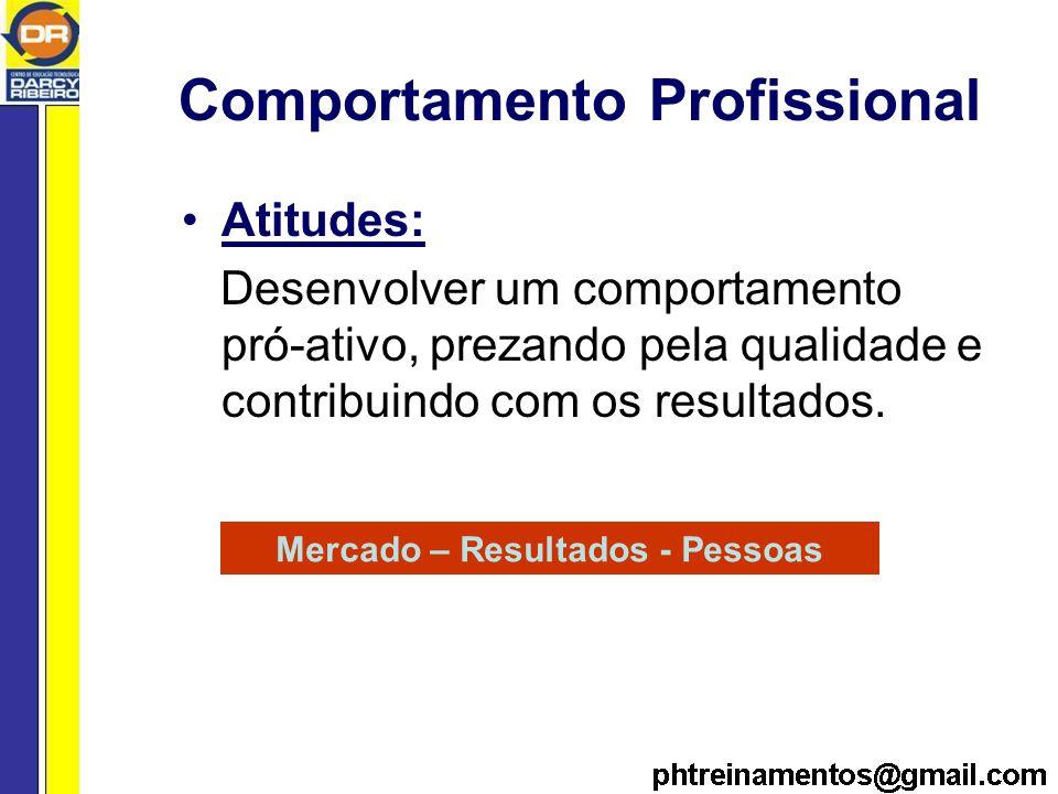 Comportamento Profissional Atitudes: Desenvolver um comportamento pró-ativo, prezando pela qualidade e contribuindo com os resultados.