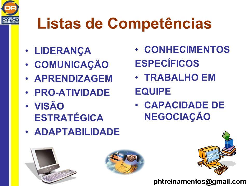 Listas de Competências LIDERANÇA COMUNICAÇÃO APRENDIZAGEM PRO-ATIVIDADE VISÃO ESTRATÉGICA ADAPTABILIDADE CONHECIMENTOS ESPECÍFICOS TRABALHO EM EQUIPE CAPACIDADE DE NEGOCIAÇÃO