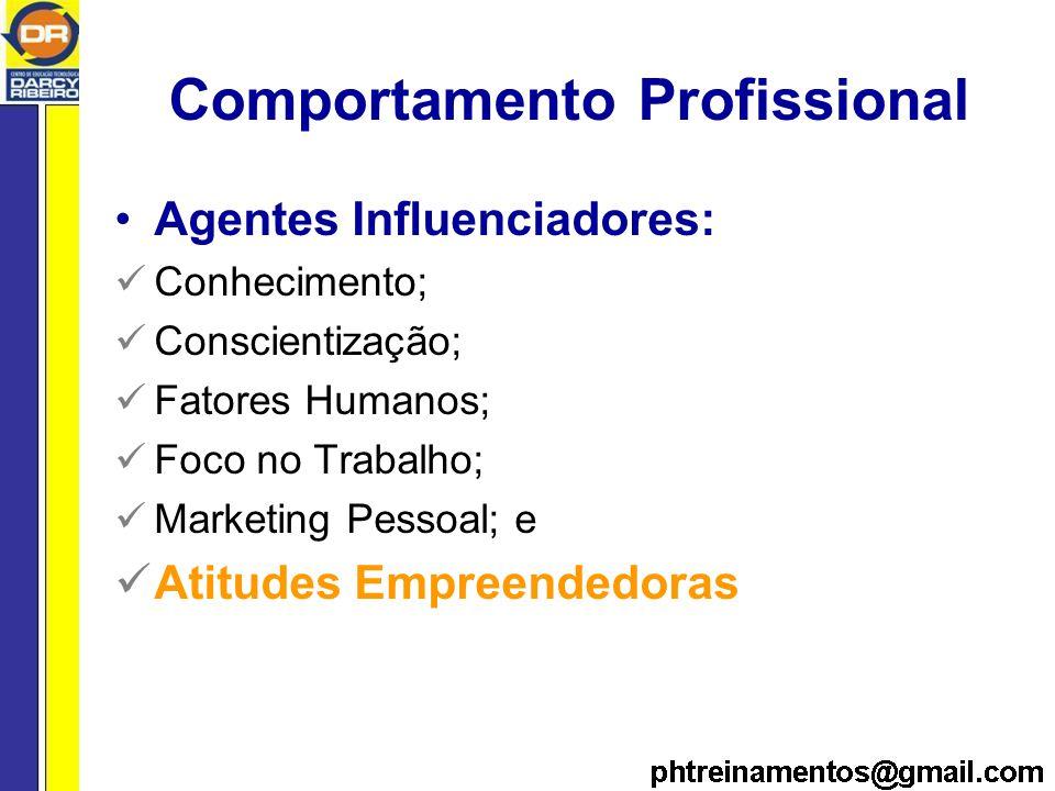 Comportamento Profissional Agentes Influenciadores: Conhecimento; Conscientização; Fatores Humanos; Foco no Trabalho; Marketing Pessoal; e Atitudes Empreendedoras