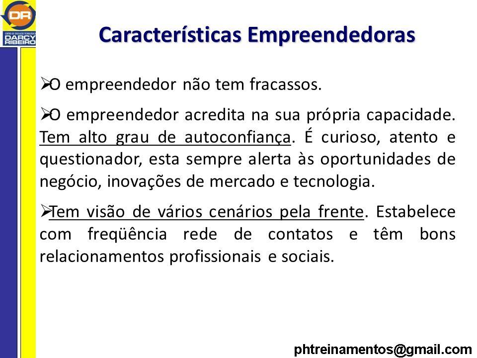 Características Empreendedoras O empreendedor não tem fracassos.