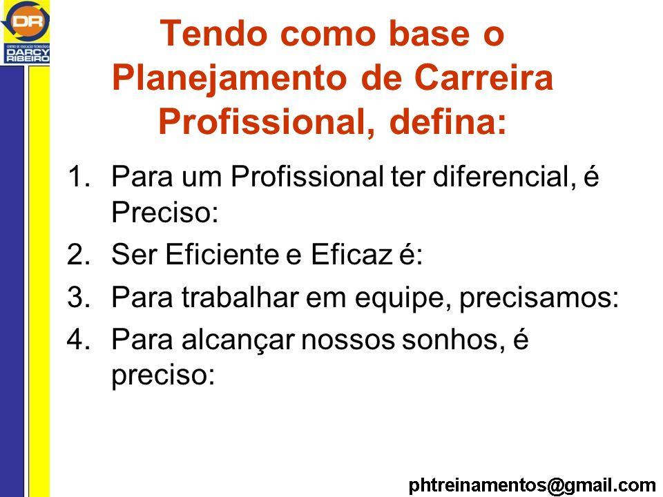 Tendo como base o Planejamento de Carreira Profissional, defina: 1.Para um Profissional ter diferencial, é Preciso: 2.Ser Eficiente e Eficaz é: 3.Para trabalhar em equipe, precisamos: 4.Para alcançar nossos sonhos, é preciso:
