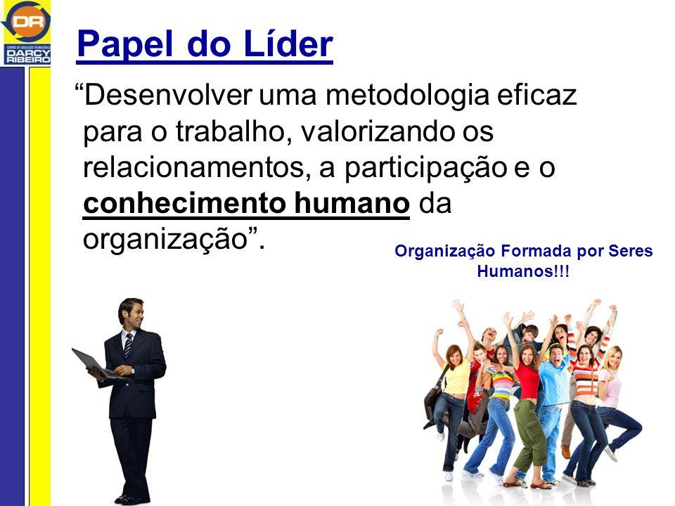 Papel do Líder Desenvolver uma metodologia eficaz para o trabalho, valorizando os relacionamentos, a participação e o conhecimento humano da organização.