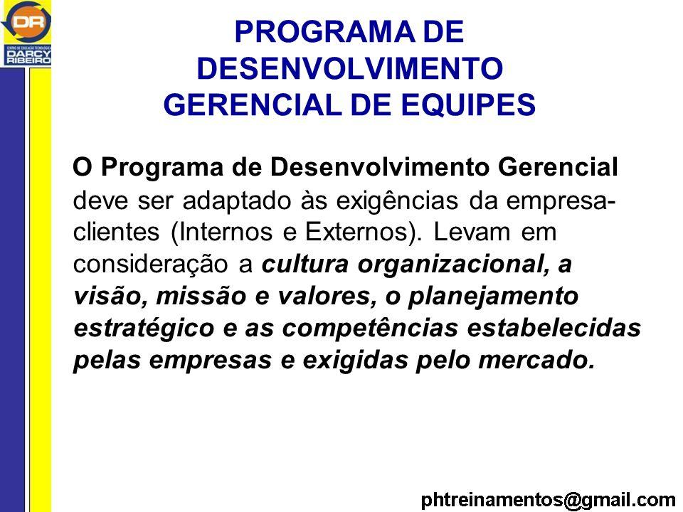 PROGRAMA DE DESENVOLVIMENTO GERENCIAL DE EQUIPES O Programa de Desenvolvimento Gerencial deve ser adaptado às exigências da empresa- clientes (Internos e Externos).
