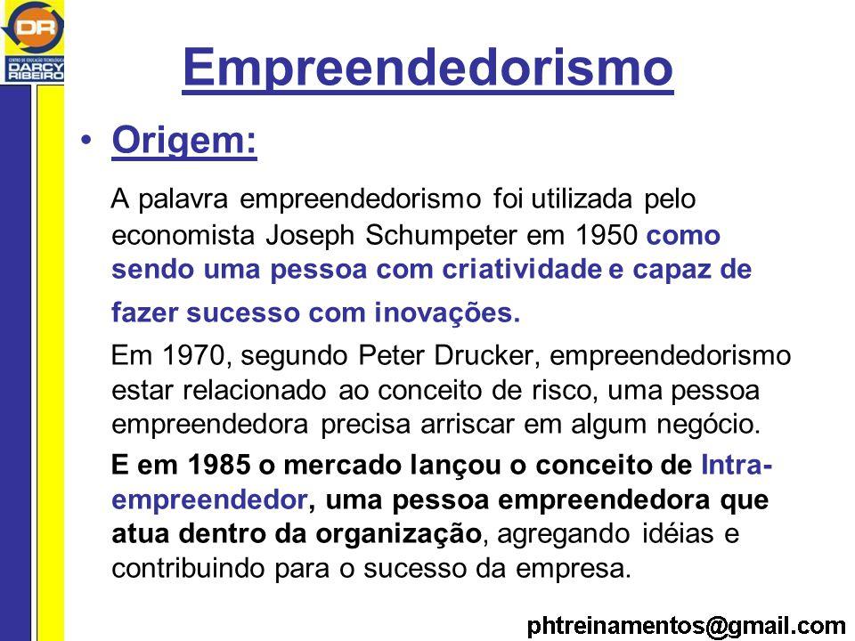 Empreendedorismo Origem: A palavra empreendedorismo foi utilizada pelo economista Joseph Schumpeter em 1950 como sendo uma pessoa com criatividade e capaz de fazer sucesso com inovações.
