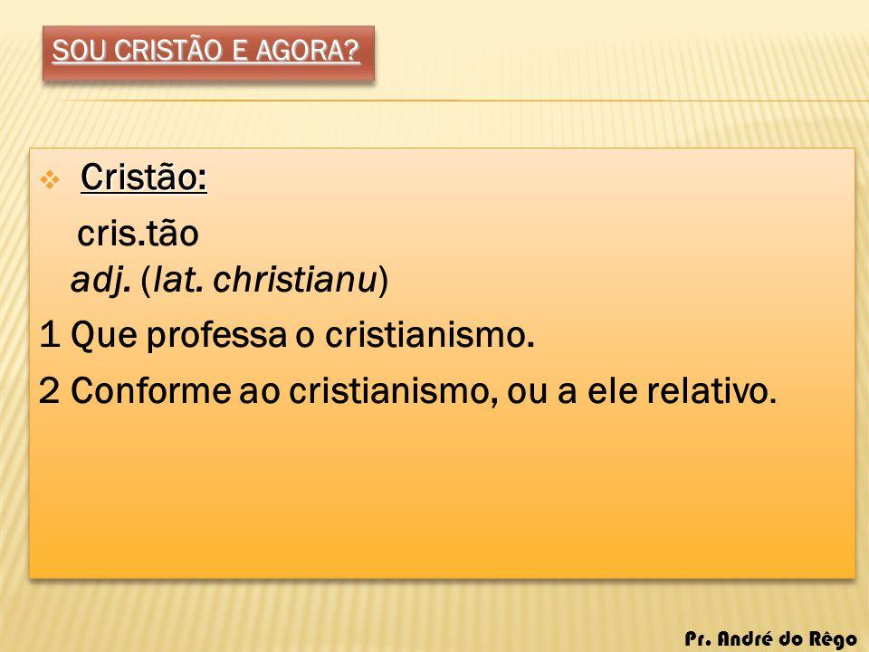 SOU CRISTÃO E AGORA? Cristão: cris.tão adj. (lat. christianu) 1 Que professa o cristianismo. 2 Conforme ao cristianismo, ou a ele relativo. Cristão: c