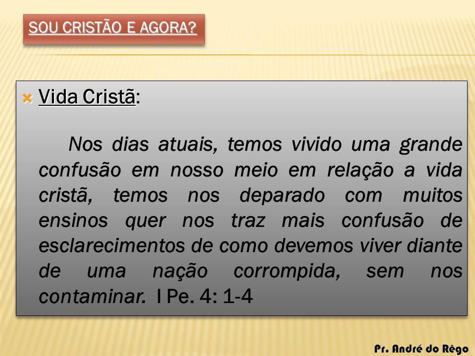 SOU CRISTÃO E AGORA? Vida Cristã Vida Cristã: Nos dias atuais, temos vivido uma grande confusão em nosso meio em relação a vida cristã, temos nos depa