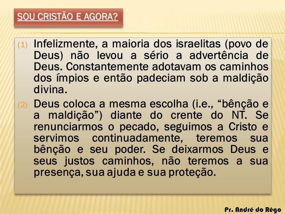SOU CRISTÃO E AGORA? (1) Infelizmente, a maioria dos israelitas (povo de Deus) não levou a sério a advertência de Deus. Constantemente adotavam os cam