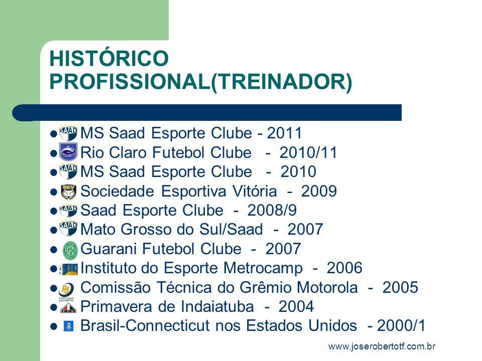 HISTÓRICO PROFISSIONAL(TREINADOR) MS Saad Esporte Clube - 2011 Rio Claro Futebol Clube - 2010/11 MS Saad Esporte Clube - 2010 Sociedade Esportiva Vitó