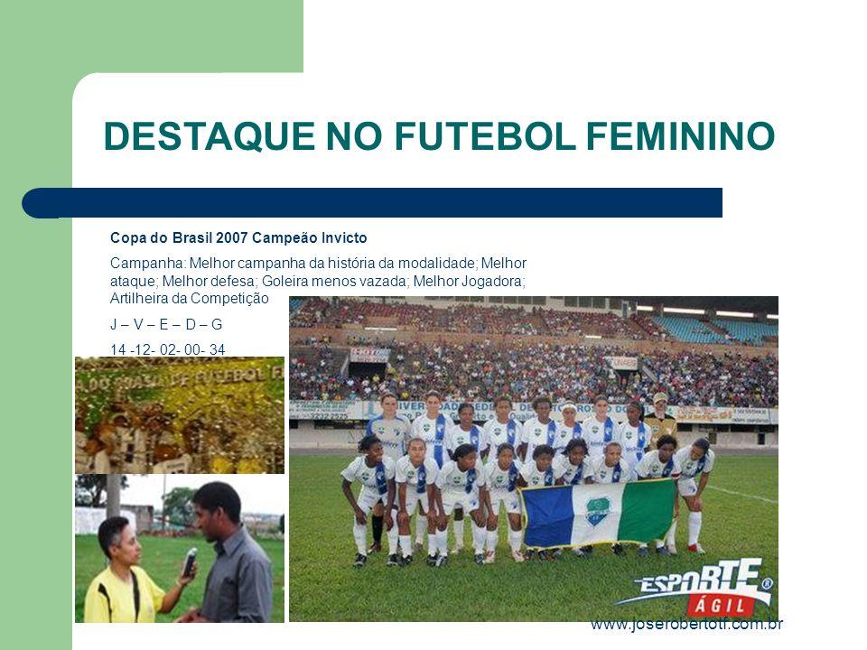 Copa do Brasil 2007 Campeão Invicto Campanha: Melhor campanha da história da modalidade; Melhor ataque; Melhor defesa; Goleira menos vazada; Melhor Jo