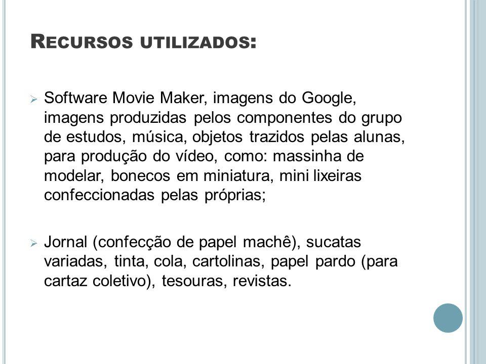 R ECURSOS UTILIZADOS : Software Movie Maker, imagens do Google, imagens produzidas pelos componentes do grupo de estudos, música, objetos trazidos pel