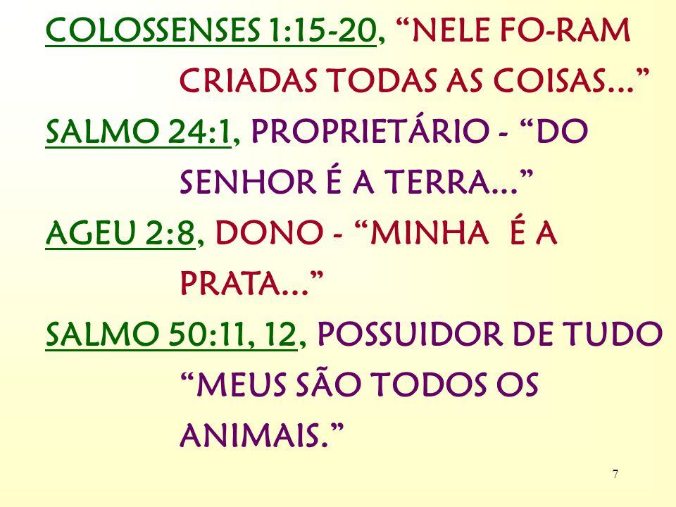 6 III - O BOM PASTOR SALMO 23:1, O SENHOR É... ? QUEM É O SENHOR ? 1 É O CRIADOR