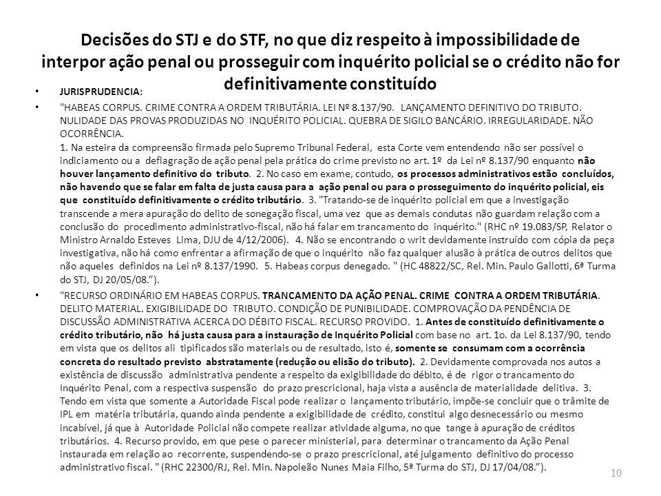 Decisões do STJ e do STF, no que diz respeito à impossibilidade de interpor ação penal ou prosseguir com inquérito policial se o crédito não for defin