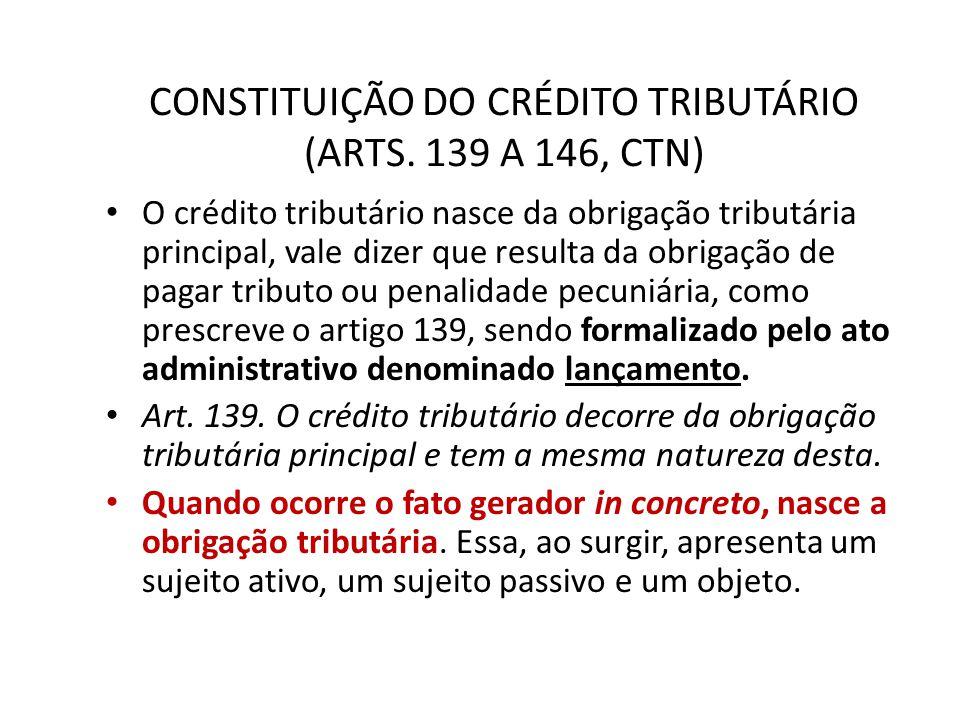 CONSTITUIÇÃO DO CRÉDITO TRIBUTÁRIO (ARTS. 139 A 146, CTN) O crédito tributário nasce da obrigação tributária principal, vale dizer que resulta da obri