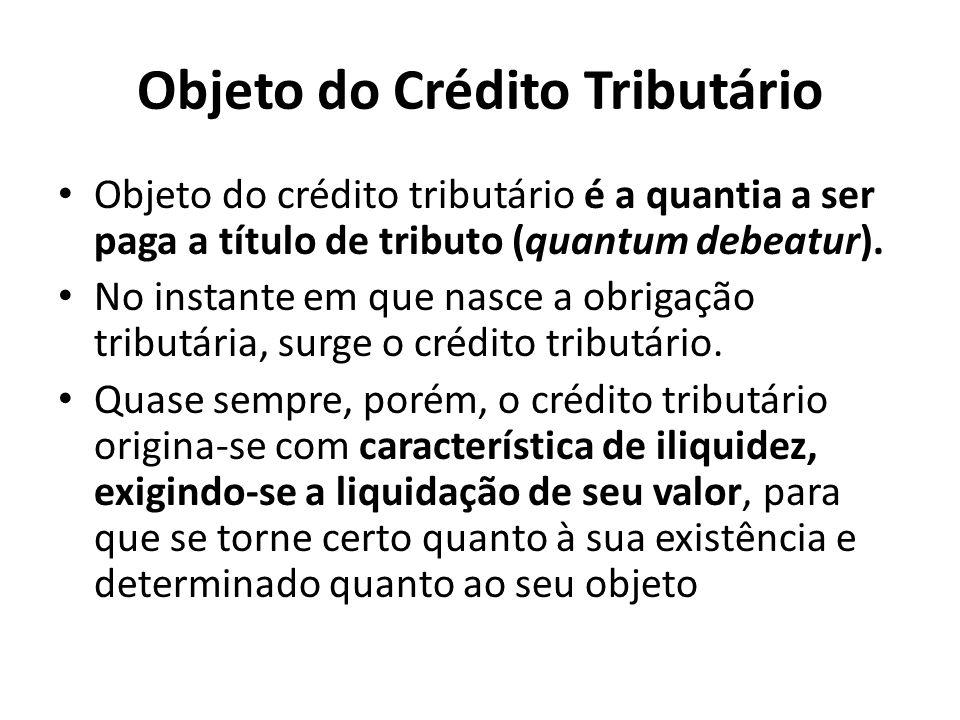 Objeto do Crédito Tributário Objeto do crédito tributário é a quantia a ser paga a título de tributo (quantum debeatur). No instante em que nasce a ob
