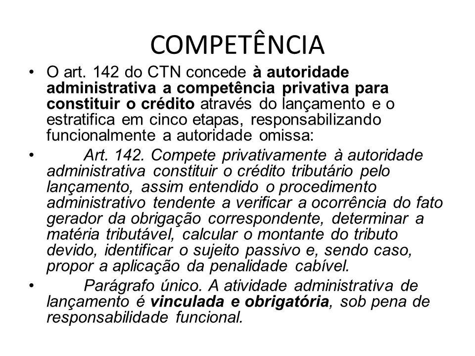 COMPETÊNCIA O art. 142 do CTN concede à autoridade administrativa a competência privativa para constituir o crédito através do lançamento e o estratif