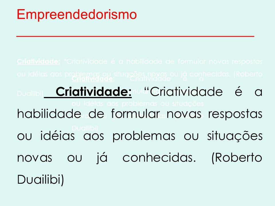 Empreendedorismo _______________________________ Criatividade: Criatividade é a habilidade de formular novas respostas ou idéias aos problemas ou situações novas ou já conhecidas.