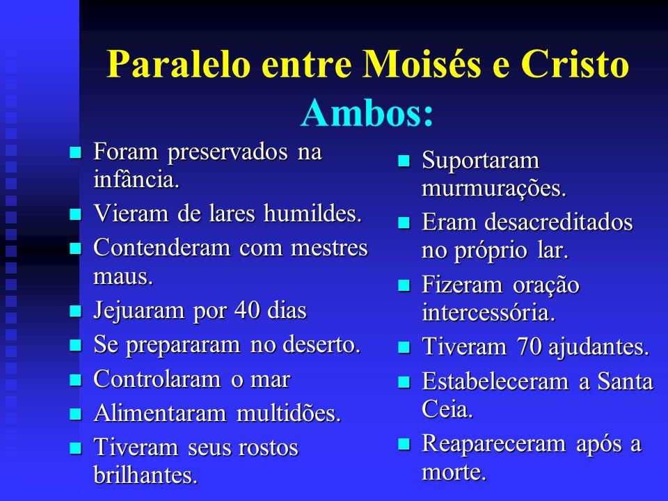 Paralelo entre Moisés e Cristo Ambos: Foram preservados na infância.