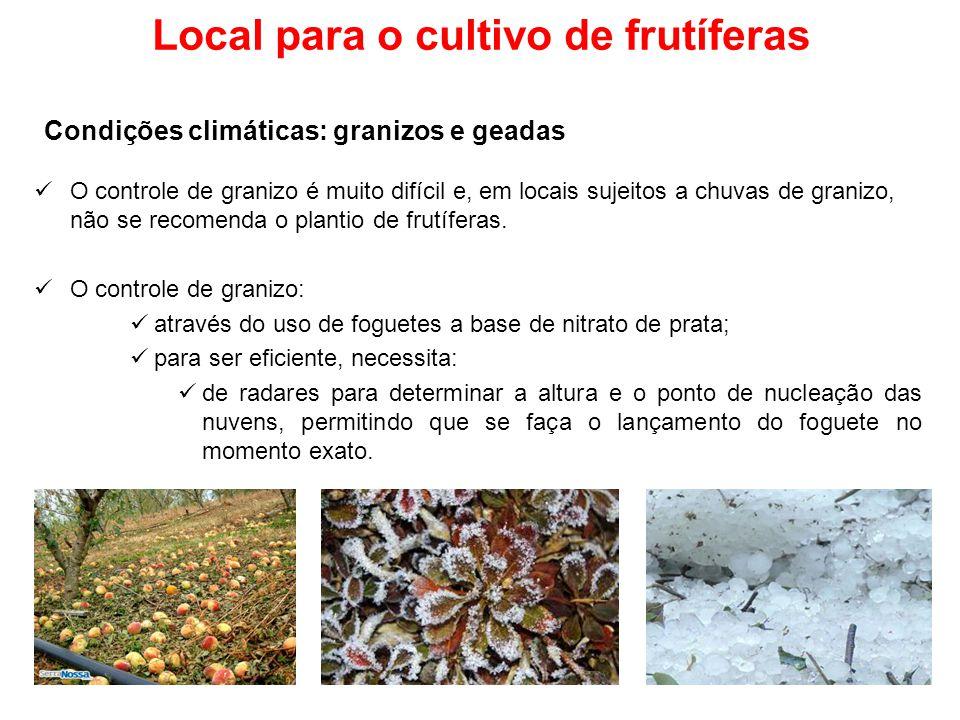 Local para o cultivo de frutíferas O controle de granizo é muito difícil e, em locais sujeitos a chuvas de granizo, não se recomenda o plantio de frut